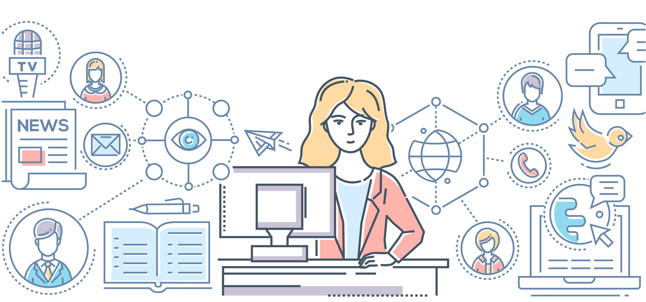 Public relations - line design style illustration on white background. Colorful composition with a female PR worker at her computer, linear images of different types of communications, TV, news, SMM