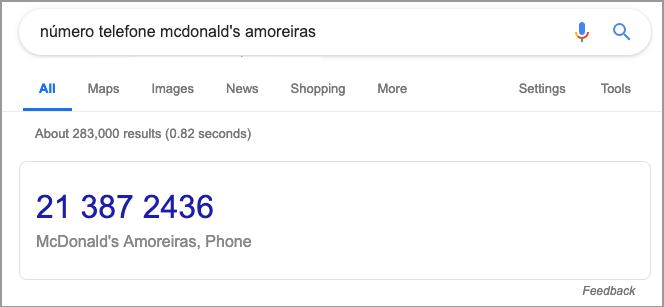 numero telefone mcdonals amoreiras
