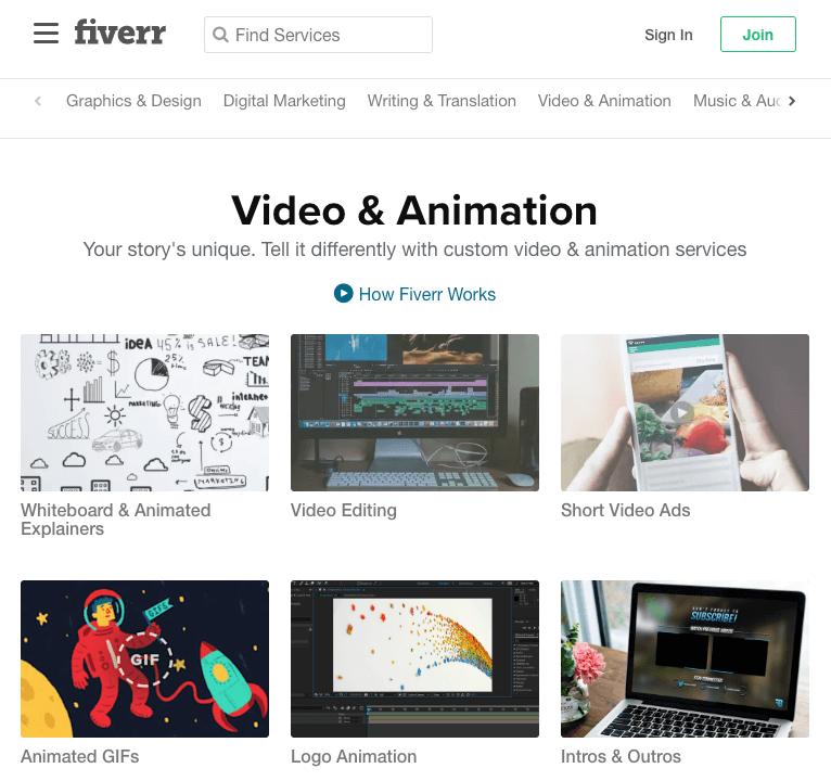 Fiverr producao videos