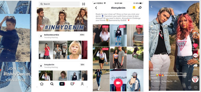 Collage of Guess Jeans ads on TikTok with people wearing denim clothing