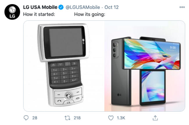 "Tweet from LG of ""How It Started vs. How It's Going"""