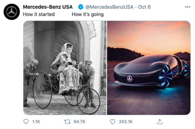 "Tweet of ""How It Started vs. How It's Going"" from Mercedes"