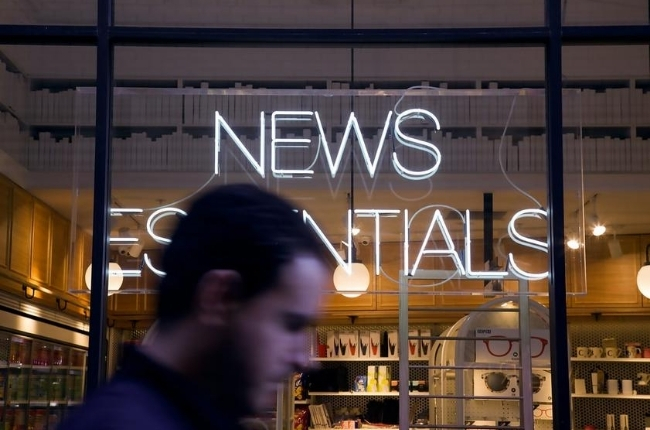 'News Essentials' glowing sign