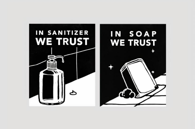 "comic strip graphic that said ""In Sanitizer We Trust"""