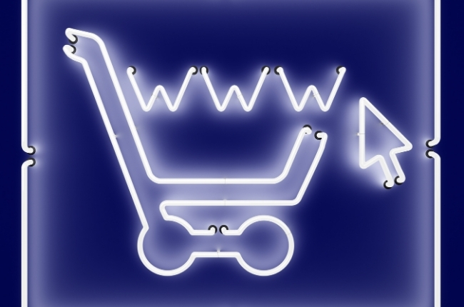 neon sign of shopping cart