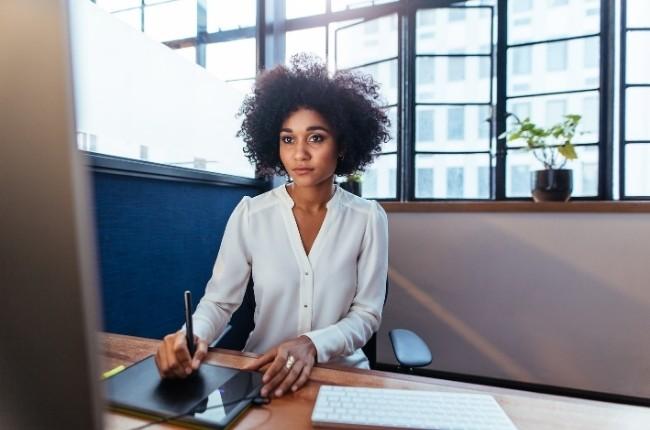 woman graphic designer working