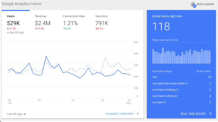 google analytics home