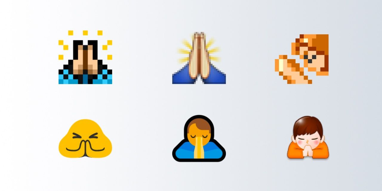 prayer hands emoji versions
