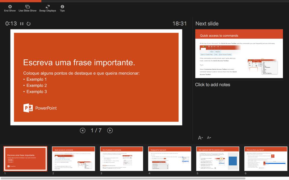 Modo de exibição powerpoint