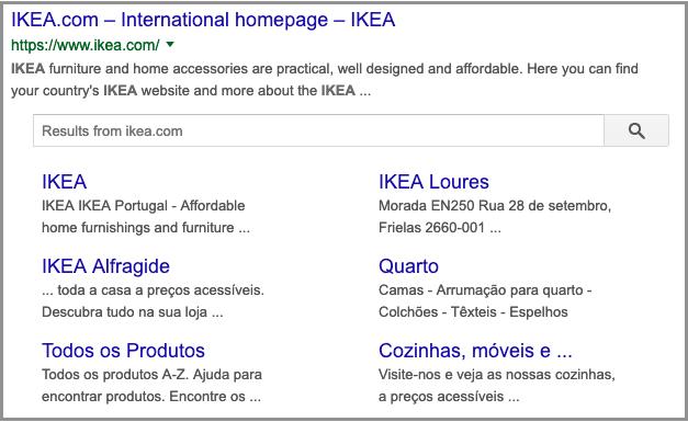 Navegação pagina IKEA